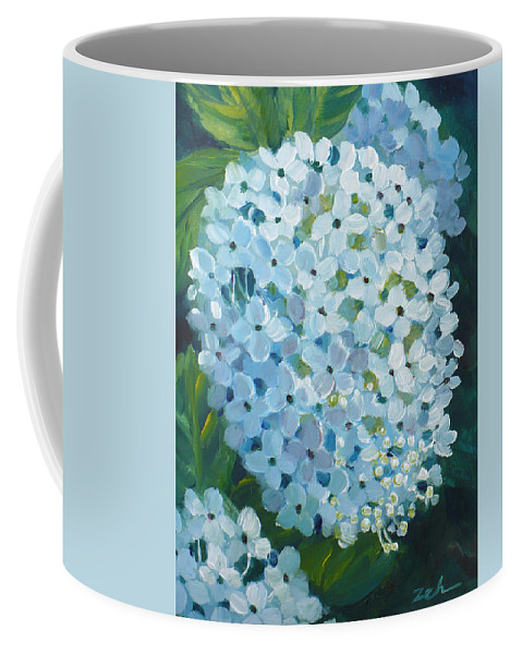Hydrangea Coffee Mug featuring the painting Hydrangea Blossom by Janet Zeh