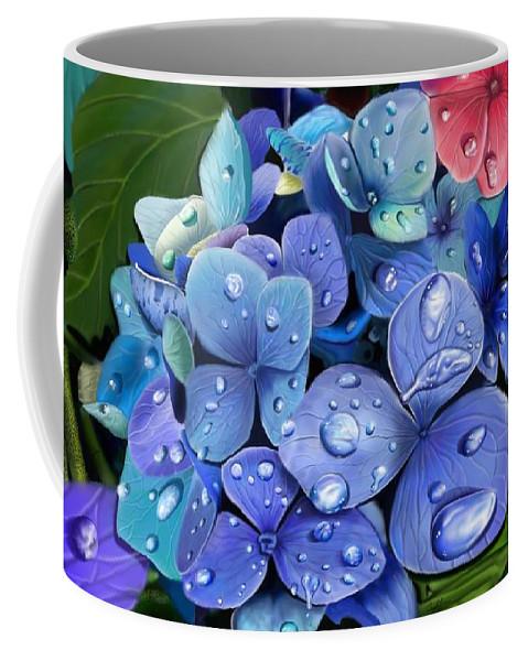 Hydrangea Coffee Mug featuring the digital art Hydrangea Drift by Douglas Day Jones