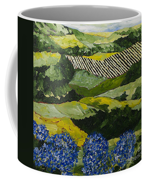 Landscape Coffee Mug featuring the painting Hydrangea Valley by Allan P Friedlander
