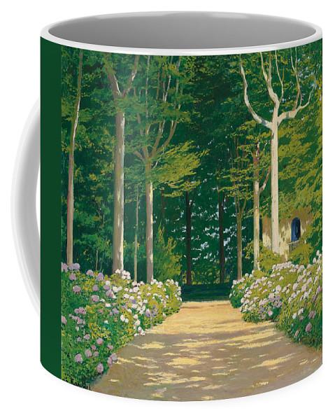 Hydrangeas On A Garden Path Coffee Mug featuring the painting Hydrangeas On A Garden Path by Santiago Rusinol i Prats
