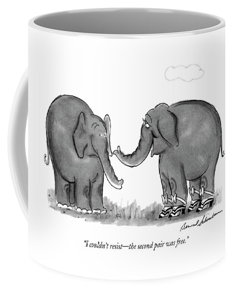 One Elephant Coffee Mug featuring the drawing I Couldn't Resist - The Second Pair Was Free by Bernard Schoenbaum