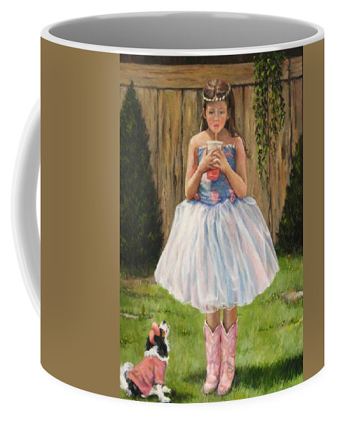 Nature Coffee Mug featuring the painting I Dressed Myself by Donna Tucker