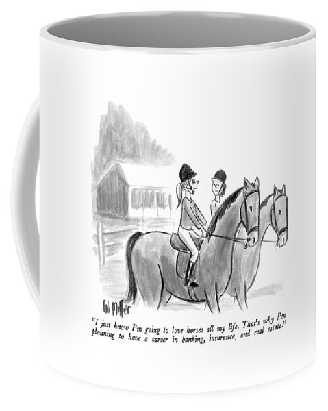 Two Girls Talking Together On Horseback.  Modern Life Coffee Mug featuring the drawing I Just Know I'm Going To Love Horses All My Life by Warren Miller