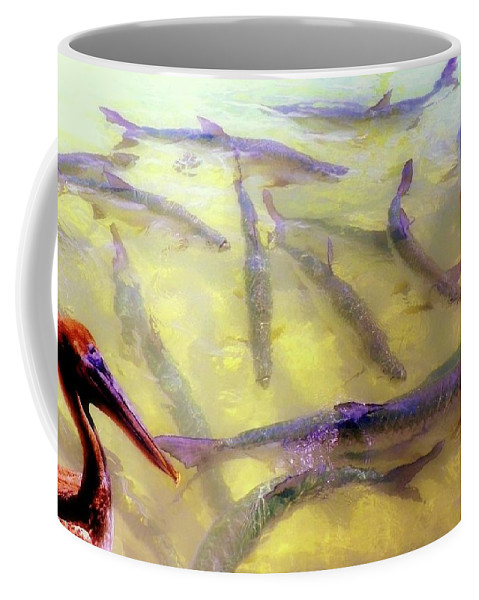 Pelicans Coffee Mug featuring the photograph I Need A Bigger Beak by Karen Wiles