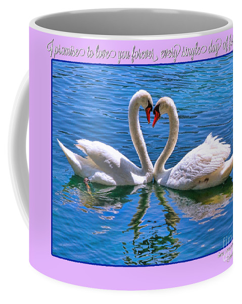 Swan Coffee Mug featuring the photograph I Promise To Love You Poster By Diana Sainz by Diana Raquel Sainz