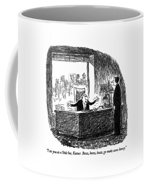 Business Coffee Mug featuring the drawing I See You As A Little Bee by Robert Weber