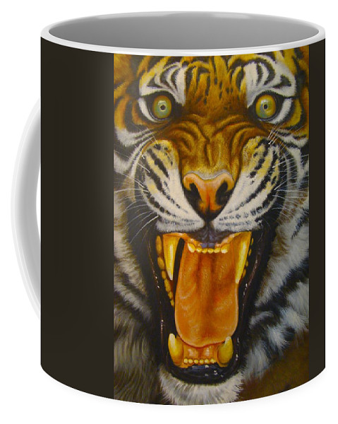 Chinese Tiger Coffee Mug featuring the photograph I Want My Morning Coffee by Tim G Ross