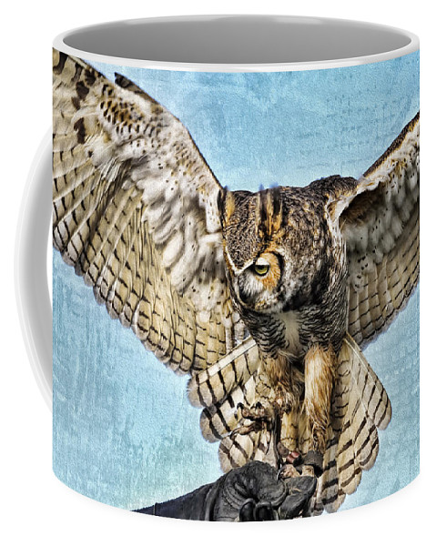 Owl Coffee Mug featuring the photograph I Want To Fly by Deborah Benoit