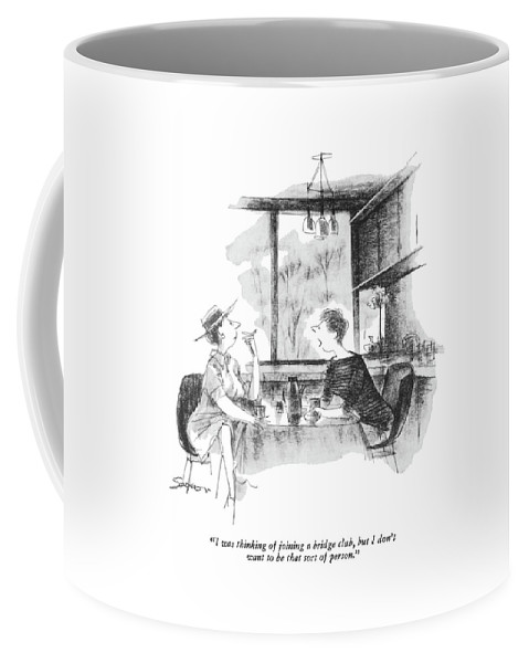 (one Woman To Another As They Talk Over Coffee.) Women Coffee Mug featuring the drawing I Was Thinking Of Joining A Bridge Club by Charles Saxon