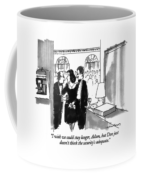 (couple Leaving Dinner Party) Couples Coffee Mug featuring the drawing I Wish We Could Stay Longer by Michael Crawford