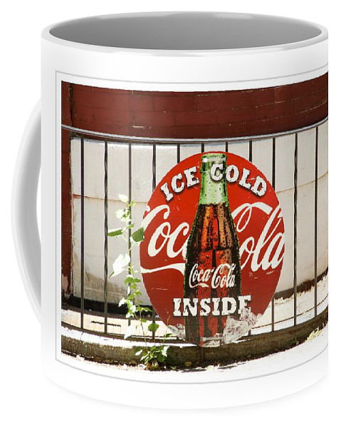 Coca Cola Sign Coffee Mug featuring the photograph Ice Cold by Alice Gipson