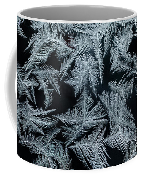 Abstract Coffee Mug featuring the photograph Ice-flowers Frost Pattern Tracery On Frost Window by Stephan Pietzko