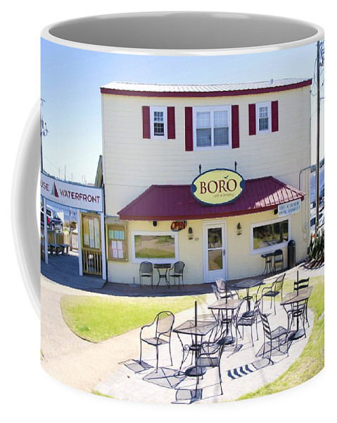 Southwold Coffee Mug featuring the painting Icehouse Waterfront Restaurant 3 by Jeelan Clark