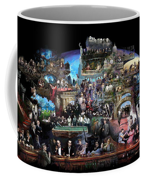 Icones Of History And Entertainment Coffee Mug featuring the mixed media Icons Of History And Entertainment by Ylli Haruni
