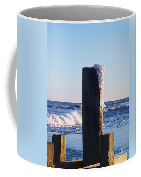 Ocean Coffee Mug featuring the photograph Icy Ocean Bulkhead by Eric Schiabor