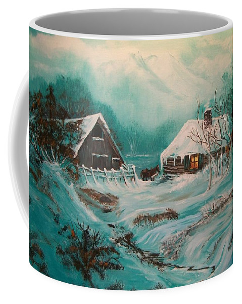Loghouse Coffee Mug featuring the painting Icy Twilight by Sharon Duguay