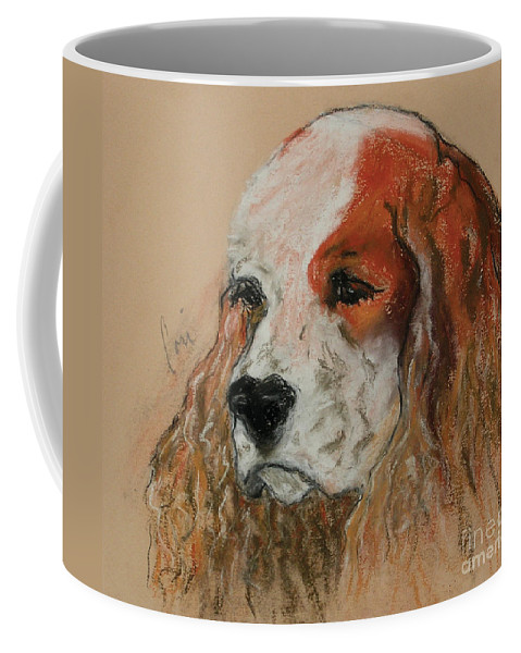 Dog Coffee Mug featuring the pastel Idle Thoughts by Cori Solomon