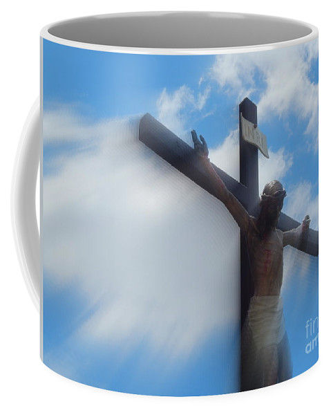 Nola Coffee Mug featuring the photograph Iesus Nazarenvs Rex Ivdaeorvm Accession At St. Joseph Church Garden In New Orleans Louisiana by Michael Hoard
