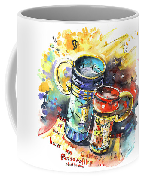 Cafe Crem Coffee Mug featuring the painting If It Were Not For Caffeine by Miki De Goodaboom