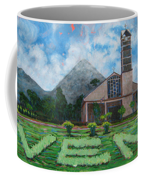 Costa Rica Coffee Mug featuring the painting Iglesia La Fortuna Costa Rica by Jeff Seaberg