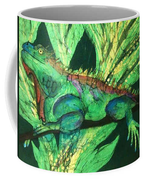Iguans Coffee Mug featuring the tapestry - textile Iguana by Kay Shaffer