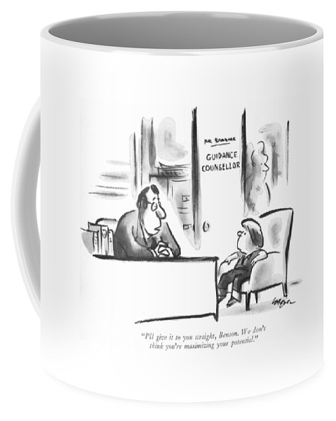 76397 Llo Lee Lorenz (man In 'guidance Counsellor's' Office Is Saying To Small Boy.) Advise Bad Boy Child Childhood Children Counsellor's Education Families Family Guidance Kids Man News Of?ce Parenting Parents Problem Pupil Rearing Saying School Schoolroom Small Student Students Teach Teachers Teaching Coffee Mug featuring the drawing I'll Give It To You Straight by Lee Lorenz