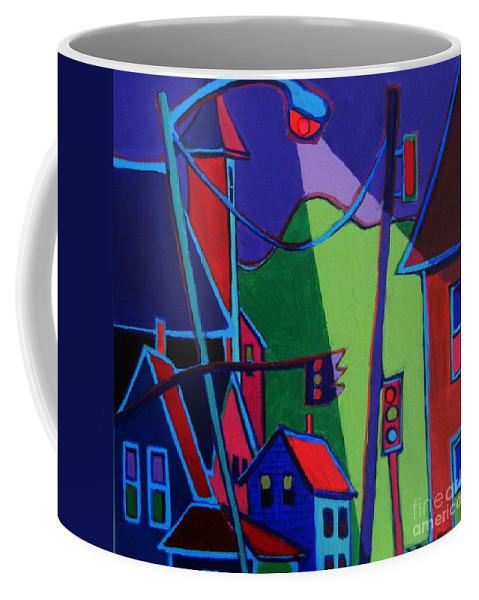 Town Coffee Mug featuring the painting Illumination Chelmsford Center by Debra Bretton Robinson