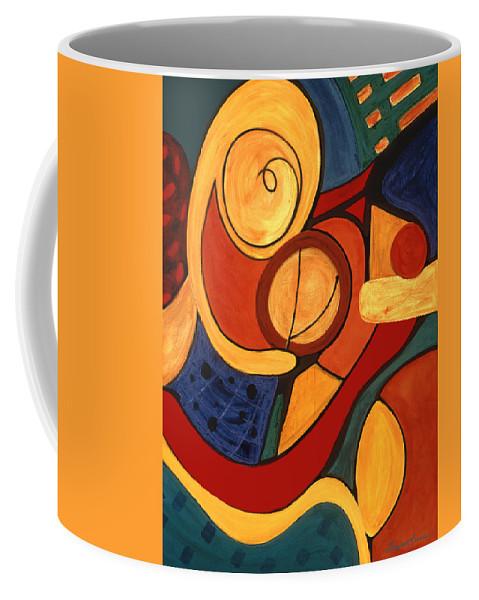Abstract Art Coffee Mug featuring the painting Illuminatus 3 by Stephen Lucas