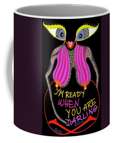 Genio Coffee Mug featuring the mixed media I'm Ready by Genio GgXpress