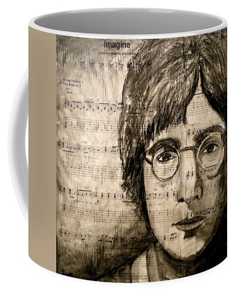 Imagine Coffee Mug featuring the drawing Imagine by Debi Starr