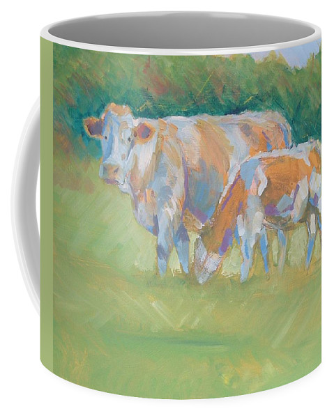 Mike Coffee Mug featuring the painting Impressionist Cow Calf Painting by Mike Jory