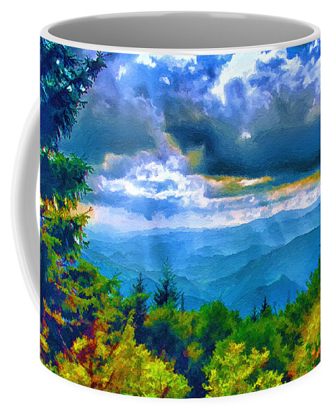 Water Coffee Mug featuring the painting Impressions Of Waterrock Knob On The Blue Ridge Parkway by John Haldane