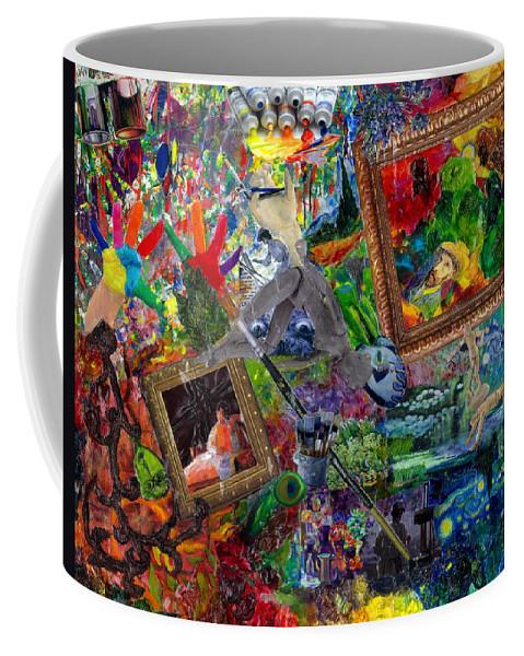 Mixed Media Coffee Mug featuring the mixed media Impressions by Paula Emery