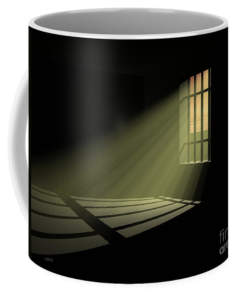 Jail Coffee Mug featuring the digital art In 30 Days Time by Phil Perkins