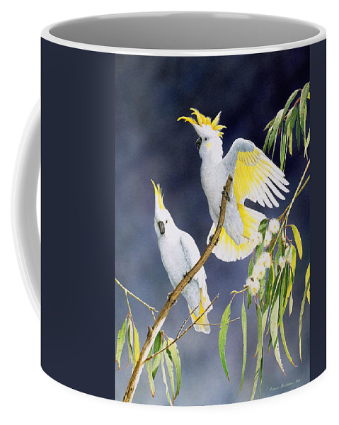 Bird Coffee Mug featuring the painting In a Shaft of Sunlight - Sulphur-Crested Cockatoos by Frances McMahon
