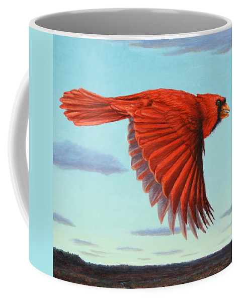 Cardinal Coffee Mug featuring the painting In Flight by James W Johnson
