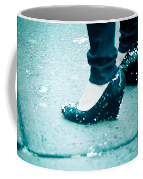 Blue Coffee Mug featuring the photograph In Her Shoes by Zina Zinchik