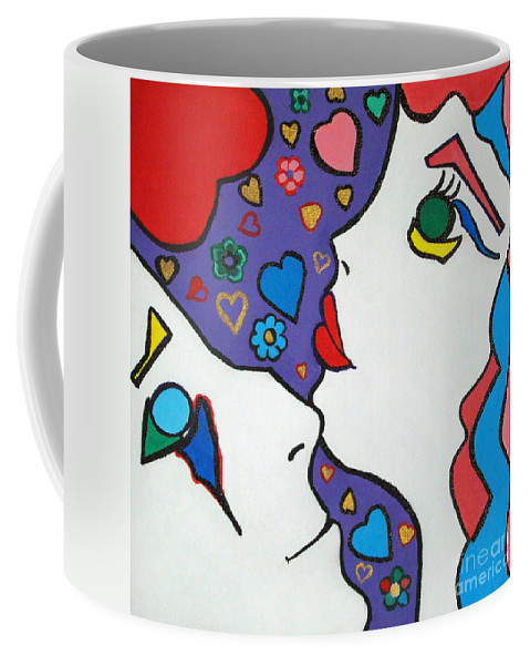 Pop-art Coffee Mug featuring the painting In Love by Silvana Abel