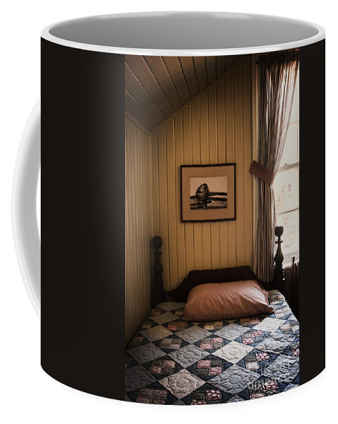 Bed; Bedroom; Interior; Inside; Indoors; Still Life; Bedspread; Quilt; Picture; Headboard; Decorate; Vintage; Antique; Pillow; Single; Window; Drapes; Curtain; Empty; Made; No One; Rustic; Boy Coffee Mug featuring the photograph In The Boys Room by Margie Hurwich