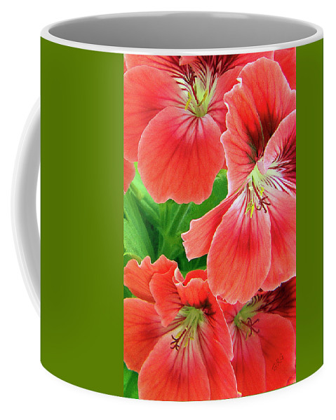 Red Flower Coffee Mug featuring the photograph In The Garden. Geranium by Ben and Raisa Gertsberg