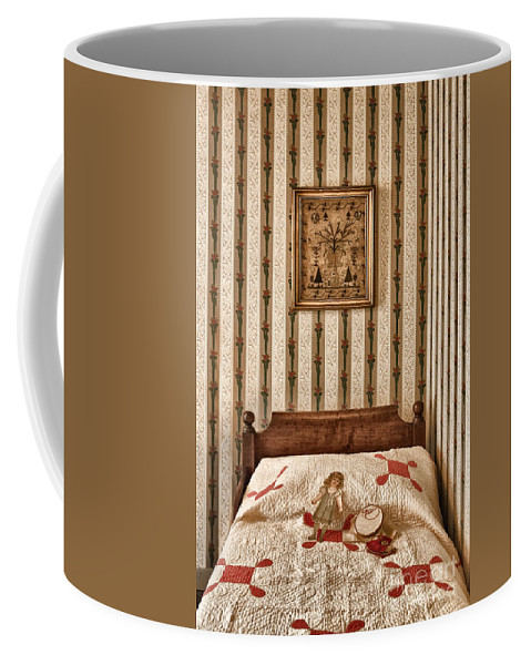 Bed; Victorian; Bedroom; Interior; Inside; Indoors; Still Life; Bedspread; Quilt; Paper Doll; Cross Stitch; Picture; Wallpaper; Headboard; Decorate; Ornate; Vintage; Antique; Stripes; Pattern Coffee Mug featuring the photograph In The Girls Room by Margie Hurwich