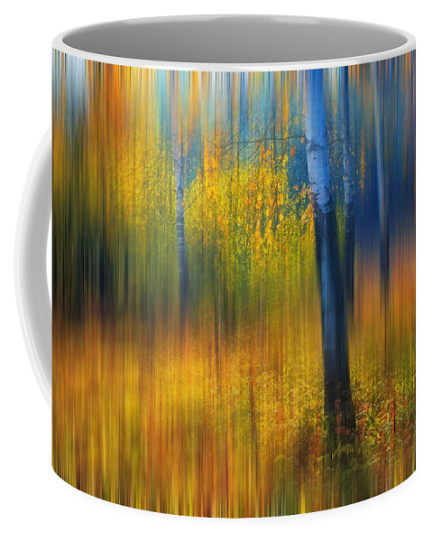 Jenny Rainbow Fine Art Photography Coffee Mug featuring the photograph In The Golden Woods. Impressionism by Jenny Rainbow