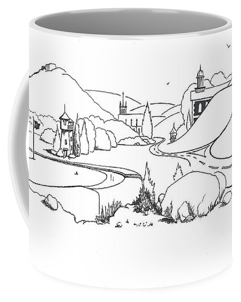 In The Land Of Brigadoon Coffee Mug featuring the drawing In The Land Of Brigadoon by Kip DeVore