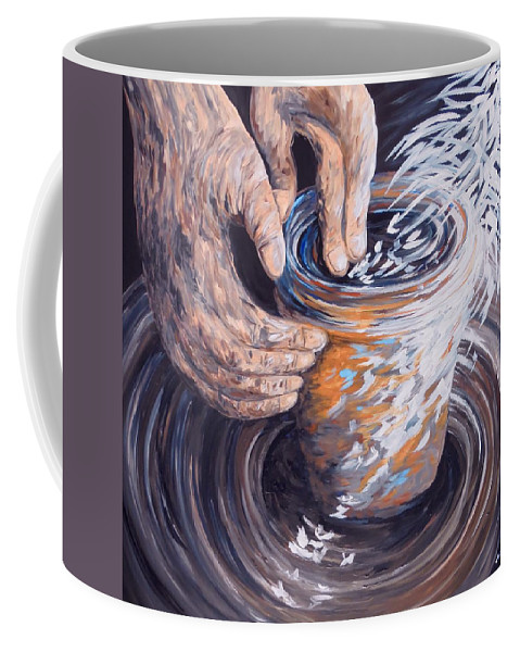 Christian Coffee Mug featuring the painting In The Potter's Hands by Eloise Schneider