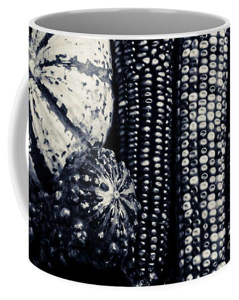 Corn Coffee Mug featuring the photograph Indian Corn And Squash In Black And White by James BO Insogna