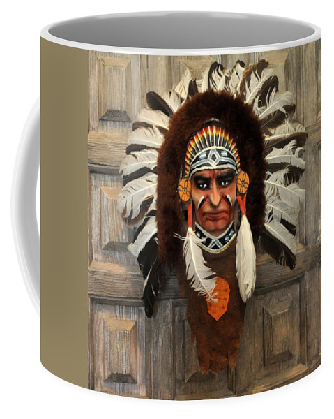 Indian Coffee Mug featuring the photograph Indian Headdress In Brown by Jay Milo
