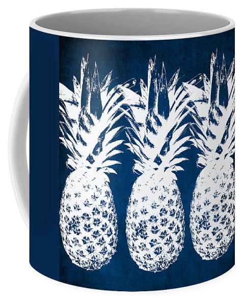 Indigo Coffee Mug featuring the painting Indigo and White Pineapples by Linda Woods