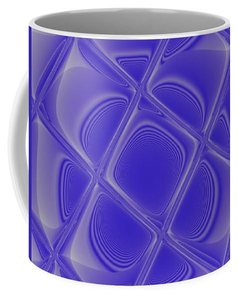 Geometric Coffee Mug featuring the digital art Indigo Petals Morphed by Pharris Art