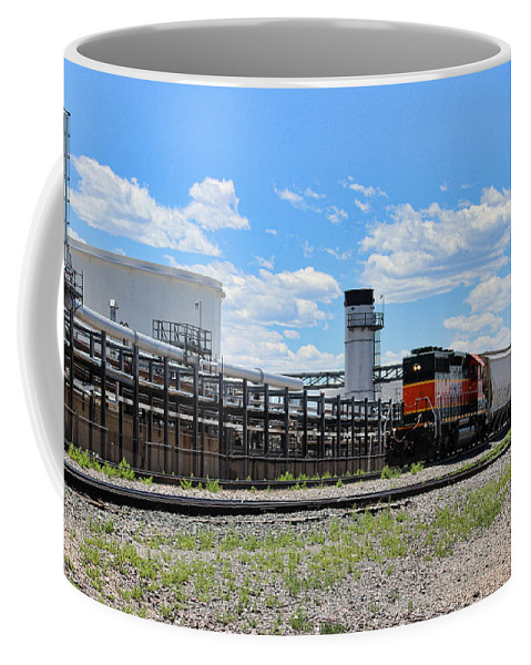 Train Coffee Mug featuring the photograph Industrial Train by Becca Buecher