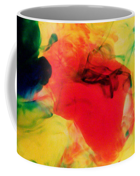 Colourful Coffee Mug featuring the photograph Ink Drops by Shawna Rowe
